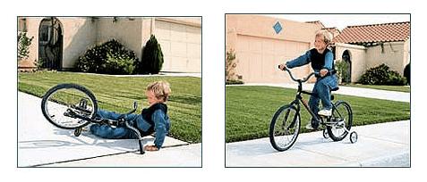 Učenie sa jazdiť na bycikli je častokrát príliš strmý gradient pre dieťa. Ale pomocné kolieska mu umožnia urobiť pokrok. Toto je správny gradient.
