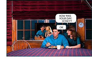 Muž odmieta komunikovať so svojou manželkou o tom, čo robil. Toto je príklad zatajenia.