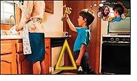 Ak je jeden vrchol ARK trojuholníka znížený, zostávajúce vrcholy sú znížené tiež. Tu dieťa rozradostene pristupuje k svojej mame, aby jej dalo kvet.